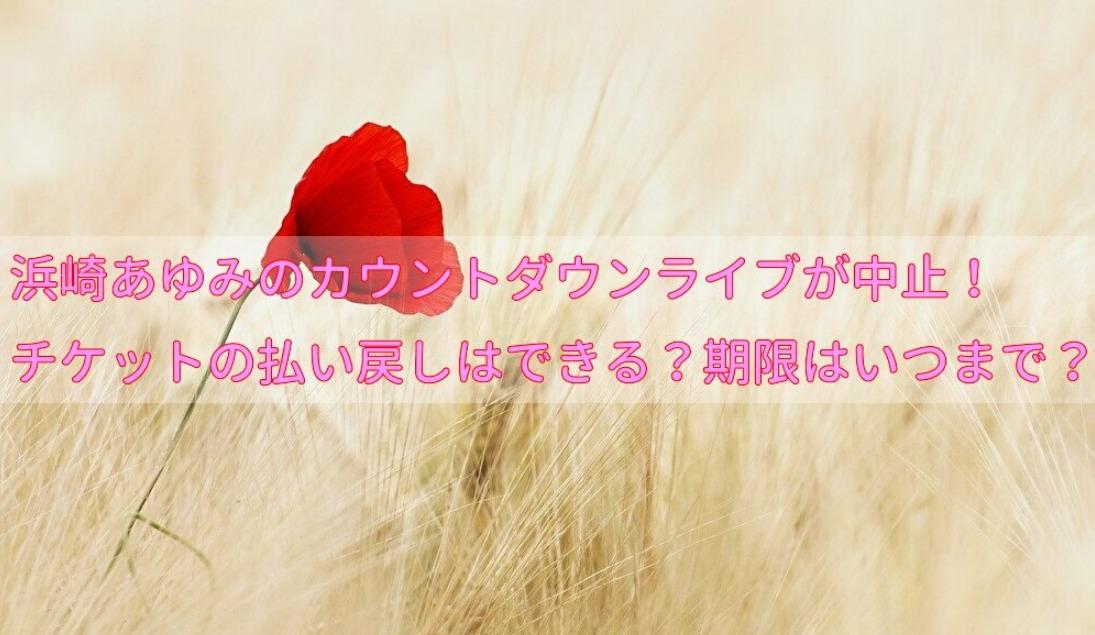 浜崎あゆみのカウントダウンライブが中止!チケットの払い戻しはできる?期限はいつまで?